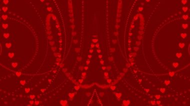 Wedding loop background,  turbulence red hearts — Stock Video