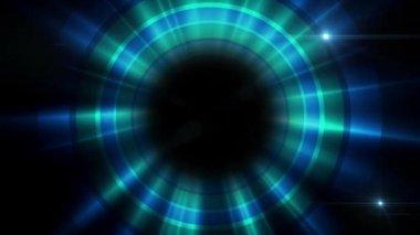 Ciclo di filatura luce blu sullo sfondo di cerchi — Video Stock
