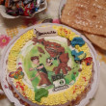 Bovenaanzicht op smakelijke taart — Stockfoto