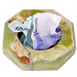 Ashtray with money — Stock Photo