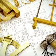 Постер, плакат: Engineering drawings and building tools