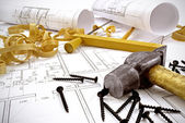 Engineering drawings and building tools — Stock Photo