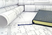 Book in design drawings — Stockfoto