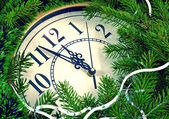 Clock and New Year decorations — Stock Photo
