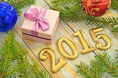 Año nuevo fondo con decoraciones — Foto de Stock