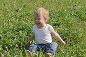 Little one-year-old girl sitting on the summer glade — Stock Photo