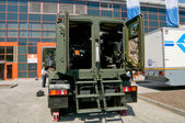 """Military armored vehicle """"Ural-4320WW"""" at the exhibition """"Integrated safety and security-2014"""", Moscow, rear view — Stock Photo"""