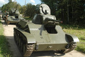 Oviet historical light tank T-70 at the landfill in the Museum of armored vehicles, Kubinka, front view, Moscow region, RUSSIA — Stock Photo