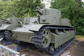 Soviet historical trehyadernye the T-28 tank in the Central Museum of Armed forces, Moscow, RUSSIA — Foto Stock