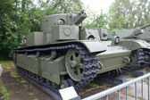 Soviet historical trehyadernye the T-28 tank in the Central Museum of Armed forces, Moscow — Foto Stock