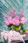 Still life bouquet pink hydrangea and astilba — Stock Photo