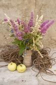 Bouquet di natura morta di astilbe con corda e mele — Foto Stock