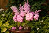 Still life bouquet pink hydrangea and astilba — Stock Photo