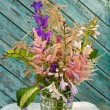 Still life bouquet with astilbe, hosta and bluebells — Foto Stock