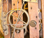 Clockwork: antique clock's gears — Stock Photo