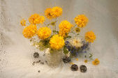 Natura morta di fiori gialli attraverso il vetro bagnato di bagnato — Foto Stock