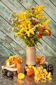Stilleven van gele bloemen boeket met champignons — Stockfoto