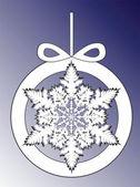 Floco de neve do natal fundo em ilustração em vetor círculo árvore de natal decoração — Vetor de Stock