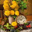 Golden sphere yellow flowers bouquet in the old wooden chair with antique clock in a sunny day still life — Stock Photo