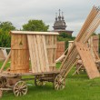 Replica of the wooden antique defense constructions — Stock Photo