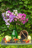 Still life with phlox bouquet, apples and berries — Stock Photo