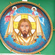 Outdoor Jesus Christ mosaic in the wall of the Moscow church of the Life-Giving Trinity on Vorobyovy Hill — Stock Photo