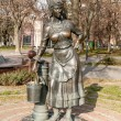 Sculpture of the girl with bucket near the pump as a Rostov  water supply company symbol, opened at the 23th of August 2007 year, architect Sergey Oleshnya and Anatooly Dementiev — Stock Photo