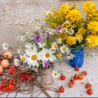 Two bouquets and berries still life — Stock Photo