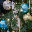 Christmas tree decorations close up — Stockfoto