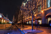 Moscow state department store at Christmas winter night — Stockfoto