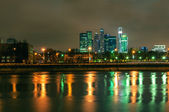 Moscow International Business Center -Moscow city scyscapers cityscape at night — Stock Photo