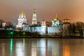 Novodevichy monastery at winter night — Stock Photo