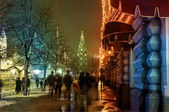 Christmas on the streets of Moscow, Russia at the evening — Stok fotoğraf