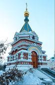 Omsk, Russia. Serafimo-Aleksievsky chapel. Winter. — Stock Photo