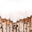 Birch fence in a snowy winter day - background for the winter postcard — Zdjęcie stockowe