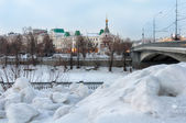 Omsk, Russia, view on the town and frozen river in winter — Stock Photo