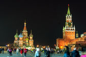 Red Square Moscow Spasskaya tower and St Basils cathedral at the evening — Stock Photo