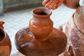 Potter making the pot in traditional style. Close up view — Stock Photo