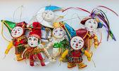 Decorações de figuras de palhaço de Natal brilhante — Fotografia Stock