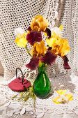 Bouquet nature morte avec des iris rares et la cassonade dans un pot de vase et de thé vert — Photo