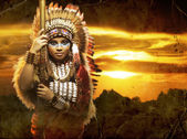 Warrior Native American woman — Stockfoto