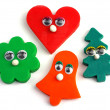 Plasticine emotional figures, heart, bell, pine, flower, no. 01 — Stock Photo
