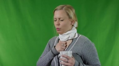 Sick woman with cup of hot chocolate or coffee — Stock Video