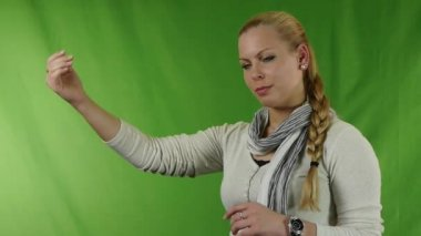 Woman showing stop gesture, isolated on green screen — Stock Video