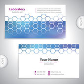 Universal dark blue medical laboratory business card. — Stock Vector