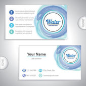 Universal water blue whirlpool business card. — Stock Vector