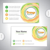 Universal orange whirlpool business card. — Stockvektor