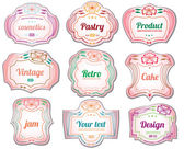 Set of vintage cosmetic labels and stickers. No.01 — Vector de stock