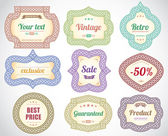 Set of vintage decorative labels and stickers. — Stock Vector