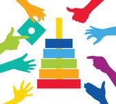 Gioco di squadra con la costruzione di pezzi colorati — Vettoriale Stock